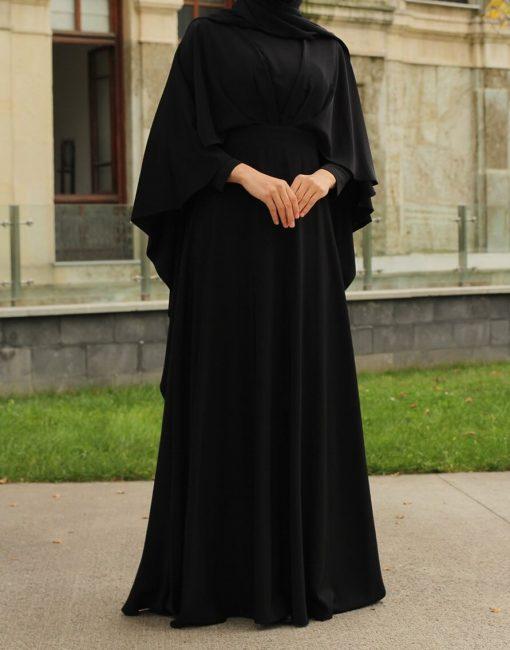 caped_black dress