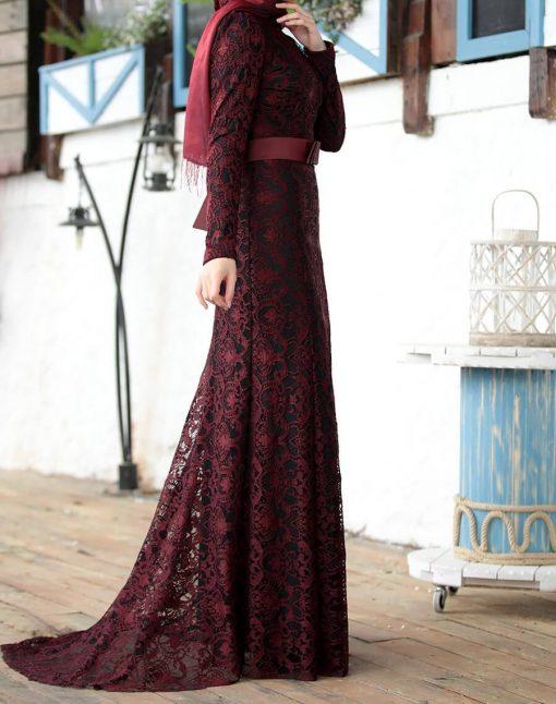 claret red lace abaya