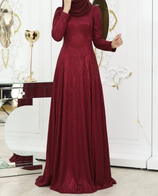 claret-red long maxi