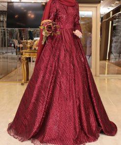claret red-sequin-gown