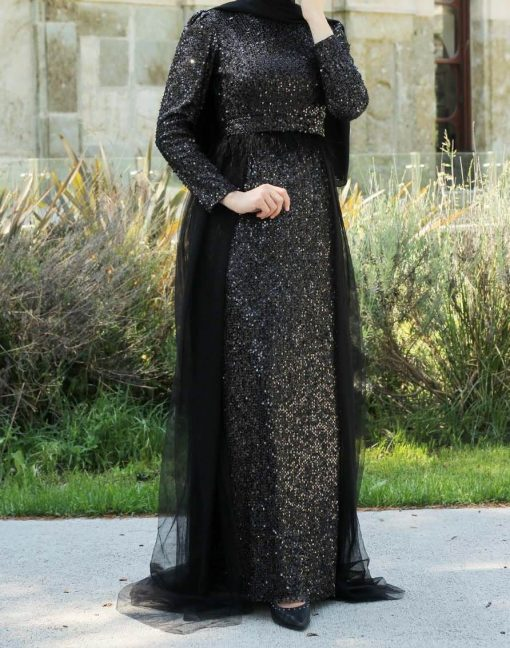 sequin_detailed_black_evening dress
