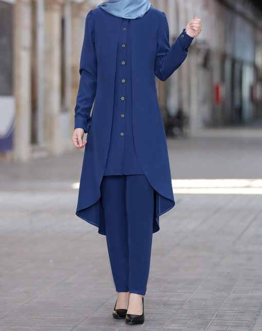 indigo_color_tunic_and_pant_suit