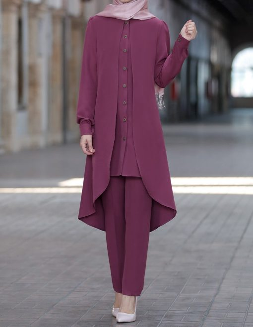 rose_color_tunic_and_pant_suit