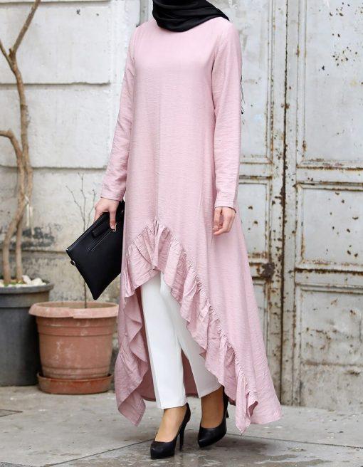 powder_pink_tunic_and_ecru_pant_suit