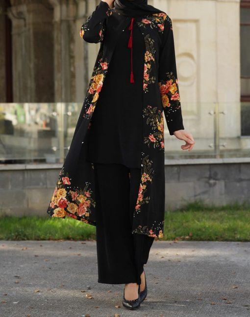 floral_black_coat_blouse_and_pant_suit