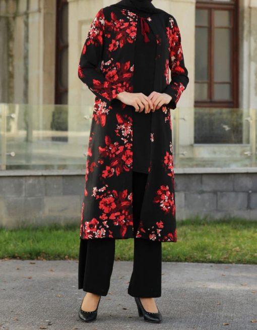 flower_patterned_black_coat_blouse_and_pant_suit