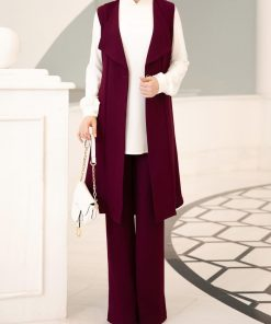 fuchsia_vest_pant_and_ecru_tunic_suit