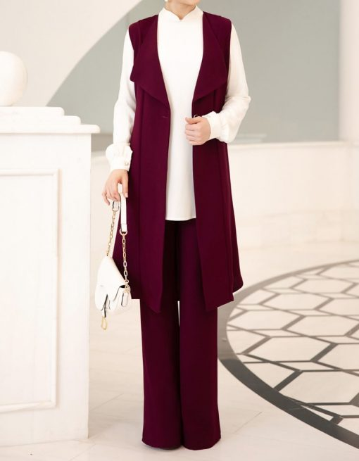 fuchsia_vest_pant_and_ecru_tunic_suit