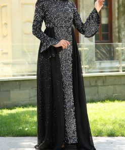 full sequin_detailed_grey_evening_dress