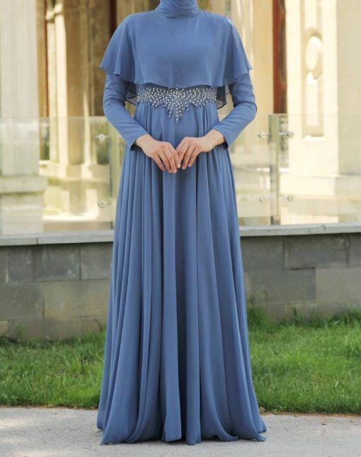 indigo evening dress