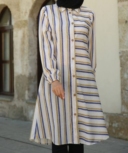 Indigo striped top