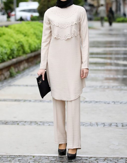 cream tunic_and_pant_suit