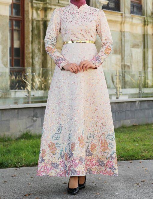 Patterned ecru dress