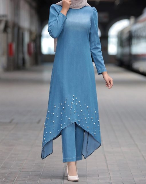 pearl_detailed_blue_jean_tunic_and_pant_suit