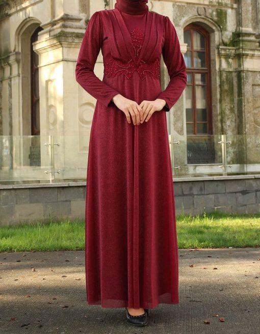 claret_red dress