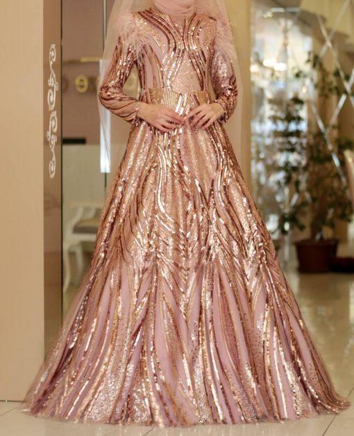 powder pink sequin gown