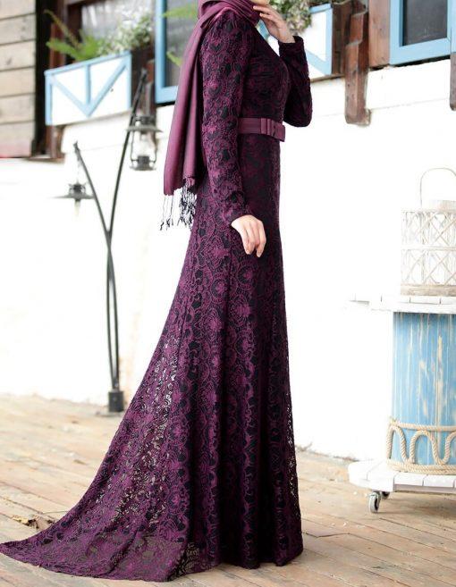 purple lace abaya
