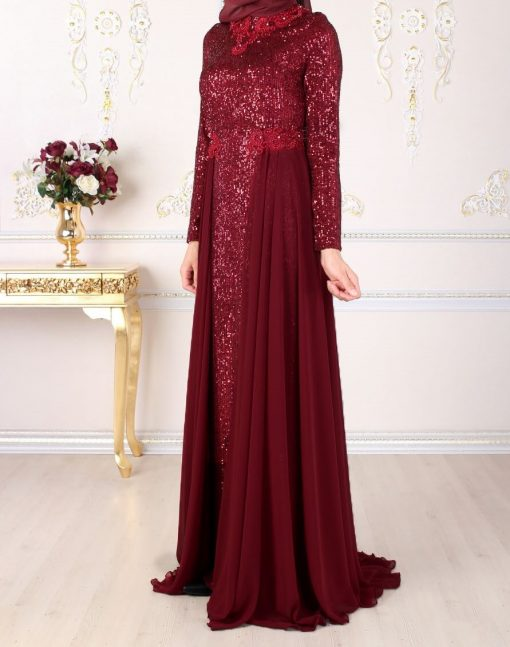 Claret red sequin detailed