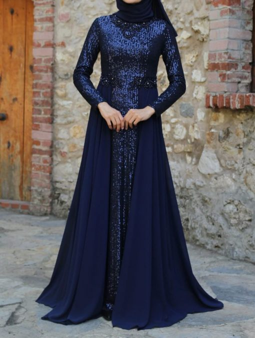 Navy blue sequin detailed