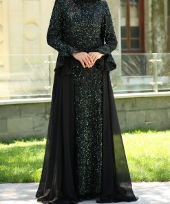sequin_detailed_green_evening_dress