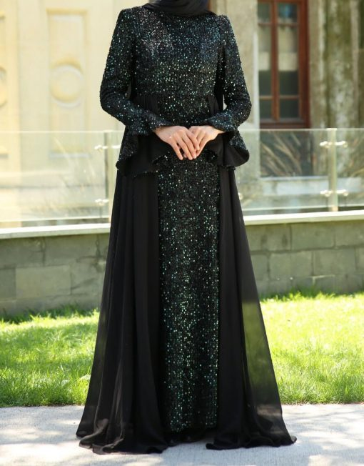 sequin_detailed_green_evening_dress