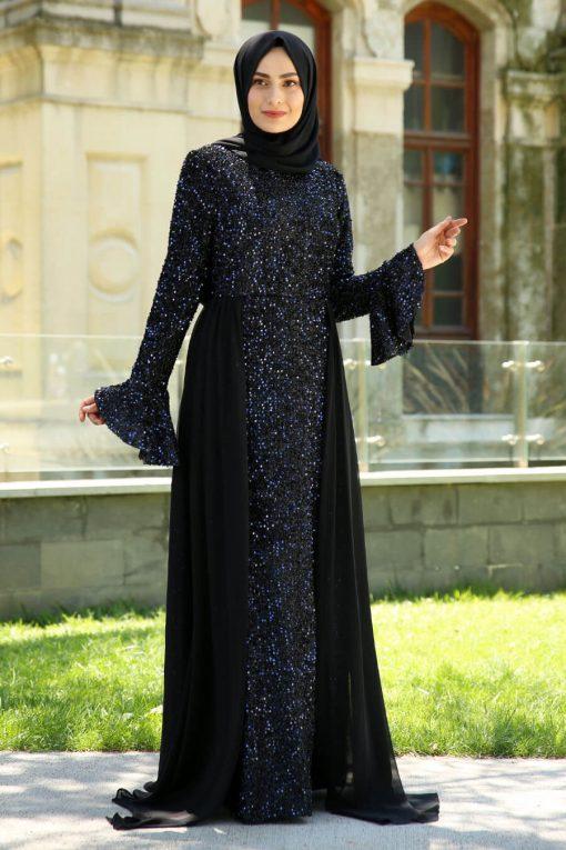 sequin_detaile navy blue evening dress