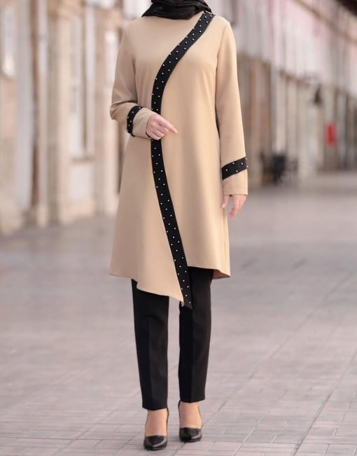 cream_color_tunic_and_black_pant_suit