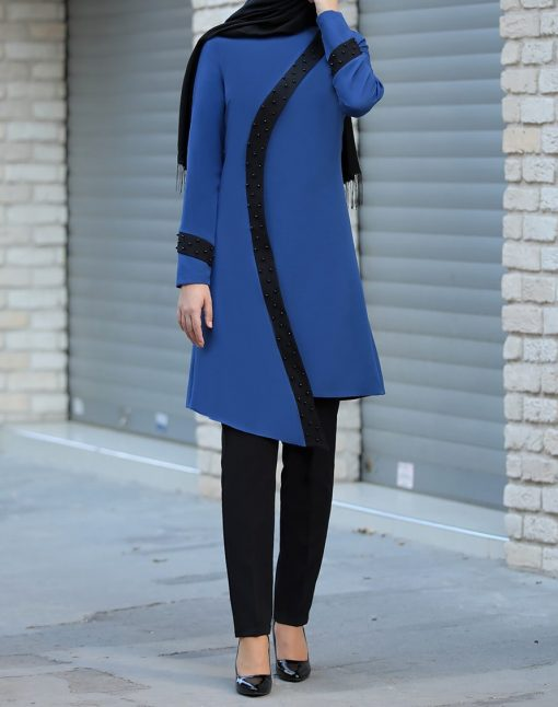 indigo_color_tunic_and_black_pant_suit