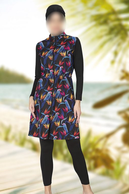 Black flower patterned swimwear