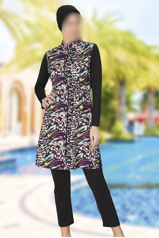 Black patterned swimwear